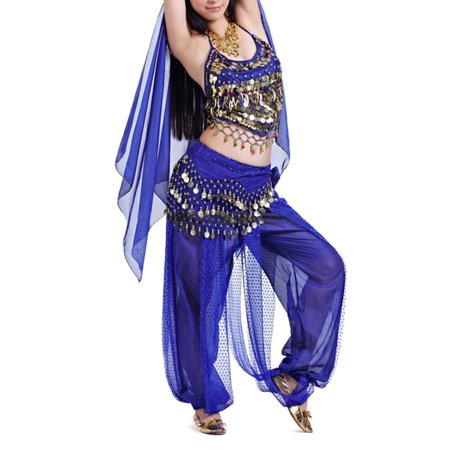 BellyLady Egyptian Belly Dance Costume, Halter Bra Top and Tribal Harem Pants-NavyBlue