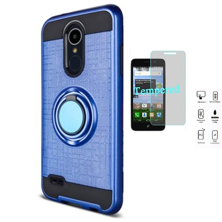 best website 5aa06 5513e Phone Case for LG Aristo 2 Plus, LG Fortune 2, LG Zone 4, LG Risio 3, LG K8  2018, LG Aristo 2, LG Tribute Dynasty Ring Stand Case + Tempered Glass ...