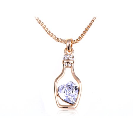Swarovski Gold Tone Necklace - Light Sapphire Golden Tone Swarovski Crystal Elements Heart Bottle Necklace