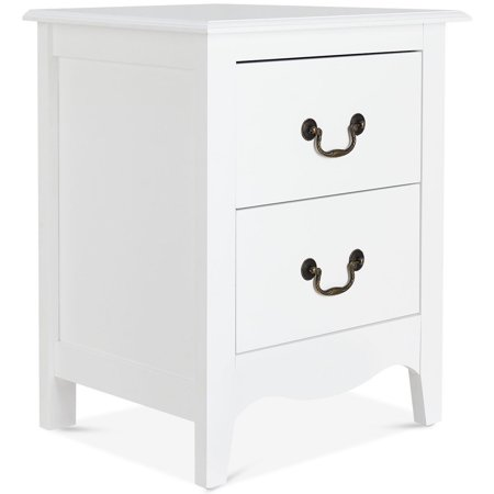 Costway Nightstand End Beside Table Drawers Modern Storage Bedroom Furniture White
