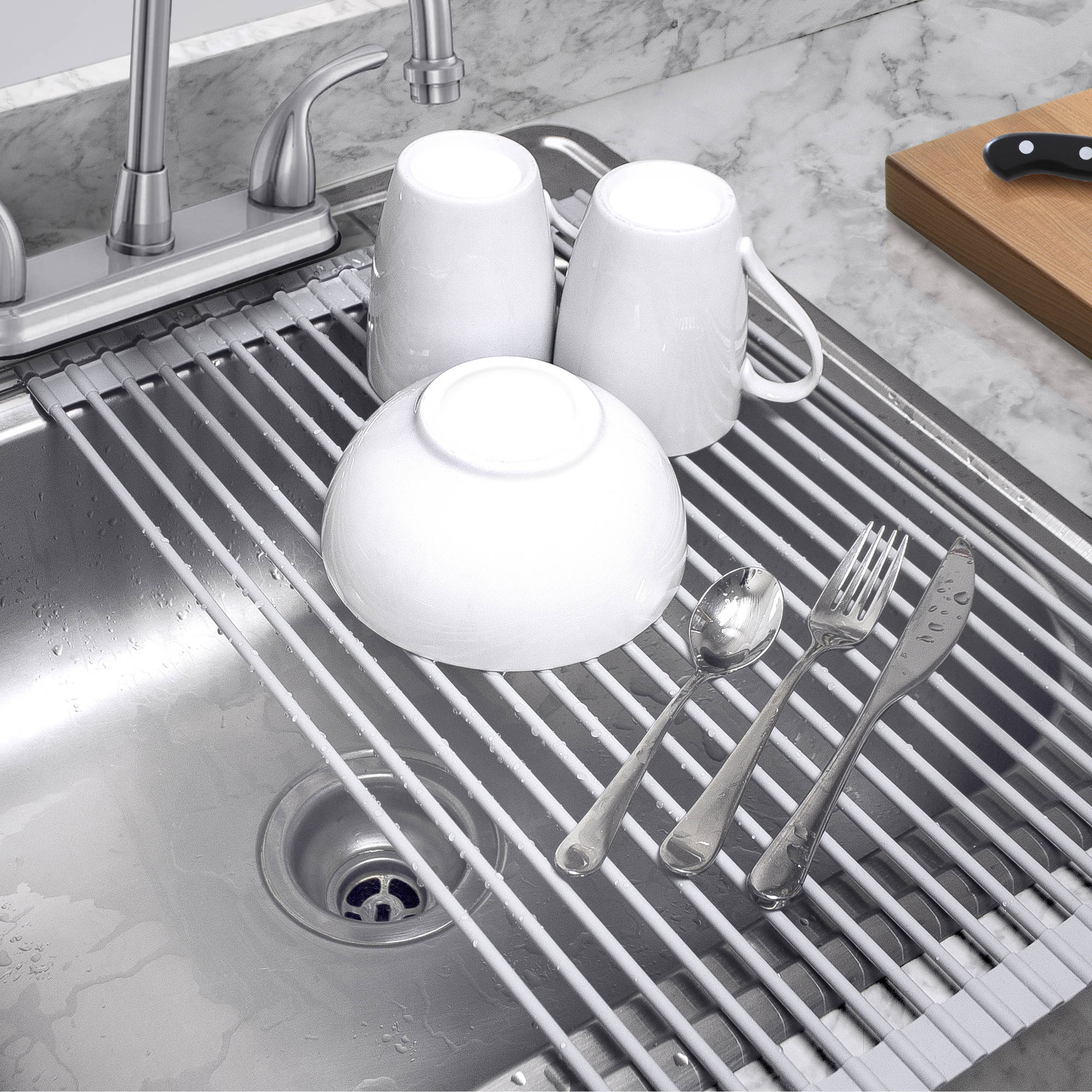 Sorbus Over The Sink Roll Up Dish Drying Rack, Multipurpose Drying For  Dishes,