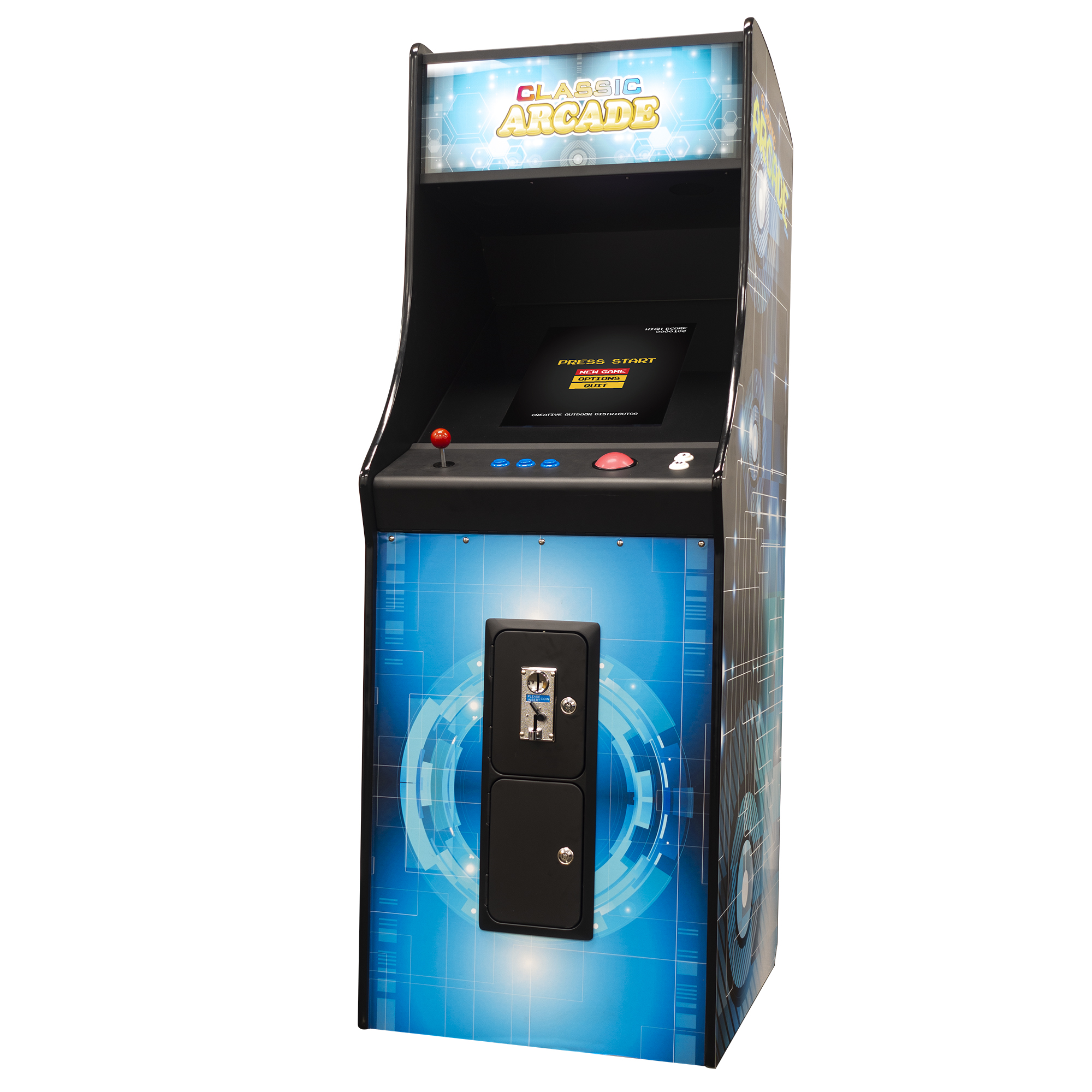 Creative Arcades Full-Size Commercial Grade Cabinet Arcade Machine | Trackball | 60 Classic Games | 2 Sanwa Joysticks | 2 Stools | 3-Year Warranty