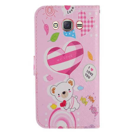 Samsung Galaxy J7 2016 Case, by Insten Cute Bear Stand Folio Flip Leather [Card Slot] Wallet Flap Pouch Case Cover For Samsung Galaxy J7 (2016), Pink - image 1 de 3