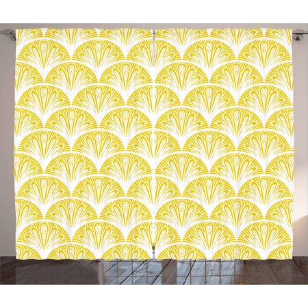 Yellow and White Curtains 2 Panels Set, Rounded Floral Motifs Overlapping Pattern 20s 30s Bohemian Simple, Window Drapes for Living Room Bedroom, 108W X 90L Inches, Earth Yellow White, by Ambesonne