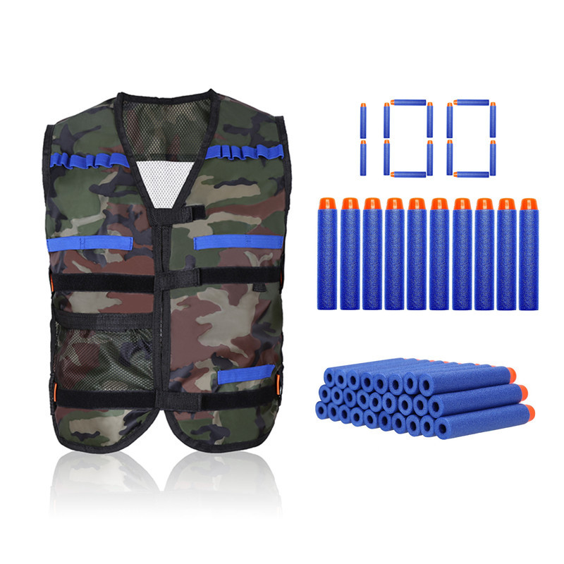 WALFRONT Kids Tactical Vest Kit for Nerf Guns for N-Strike Elite Series(1 Tactical Vest/1000 Bullet Darts/Tactical Vest Kit/1 Target Pouch)