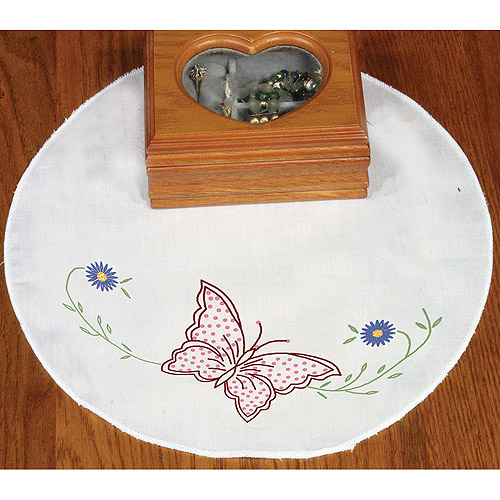 Fairway Needlecraft Flower Butterfly Stamped Round Doily, 12""