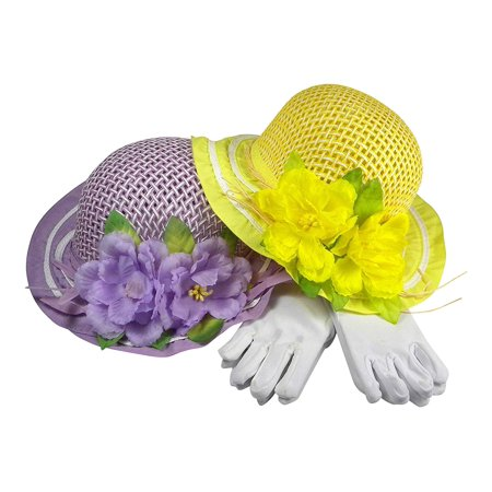 Girls Tea Party Dress Up Play Set For Two With Sun Hats and White Gloves - Purple and Yellow](Tea Party Hats And Gloves)