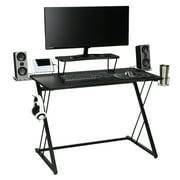 "Essentials Collection 55"" Gaming Computer Desk, 35"" Monitor Shelf, Z-Base, in Black/Black (ESS-1101-BLK-BLK)"