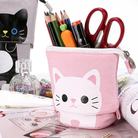 Cute Cat Pencil Case Box Pouch Bag for Kids,Transformer Stand Store Pen Holder Case Canvas+PU Stationery with Zipper Closure