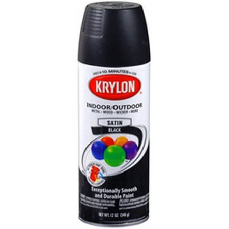 Duplicolor 51613 Krylon Indoor Outdoor Paint Satin Black 12 Oz Can Fast Drying Weather