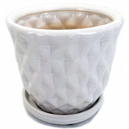 "White Pineapple Glazed Ceramic Pot/Saucer - 8"" x 6"" with Felt Feet"