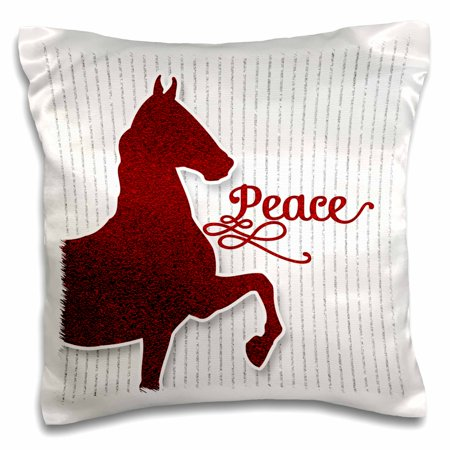 3dRose Red Faux Glitter Horse with Peace Word Art Holiday Pet Lover - Pillow Case, 16 by 16-inch