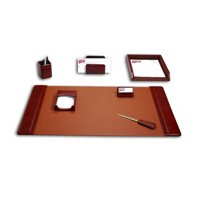 Mocha Leather 7-Piece Desk Set