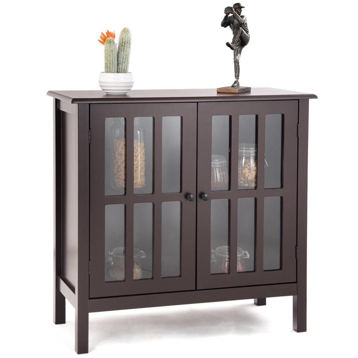 Costway Storage Buffet Cabinet Glass Door Sideboard Console Table Server Display Brown by Costway