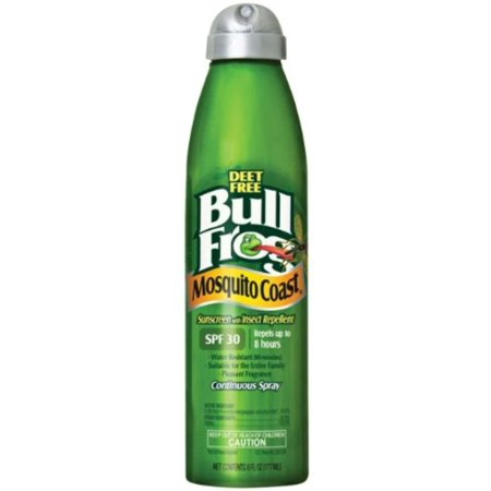 BullFrog Mosquito Coast Continuous Spray Sunblock with Insect Repellent, SPF 30 6 oz (Pack of -