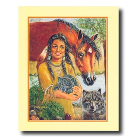 Handmade Native American Indian Horse - Native Indian Girl Wolf Horse Wall Picture Art Print
