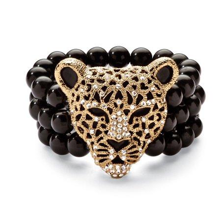 Tone Onyx Gemstone (Crystal Leopard Genuine Onyx Stretch Bracelet in Yellow Gold Tone)