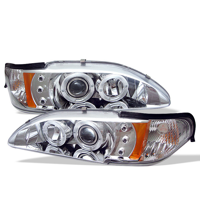 Spyder Ford Mustang 94-98 1PC Projector Headlights - LED Halo - Amber Reflector - LED ( Replaceable LEDs ) - Chrome - High 9005 (Included) - Low H3 (