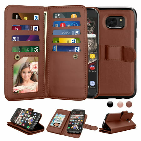 Galaxy S7 Cases, Samsung S7 Wallet Case, S7 Pu Leather Cover, Njjex Pu Leather Magnet Stand Folio Flip Built-in 9 Card Slots With Wrist Strap Wallet Cases Cover For Galaxy S7 5.5