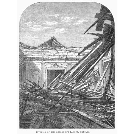 Manila Earthquake 1863 Ninterior Of The Governors Palace At Manila Philippines After The Earthquake Of 1863 Contemporary Engraving From An English Newspaper Rolled Canvas Art     24 X 36