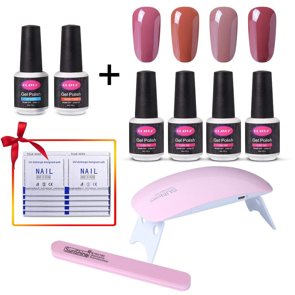 CLAVUZ Gel Nail Polish Set C003,Top and Base Coat Nail Polish SUNMINI LED Nail Lamp Nail File Remover Wrap New Starter Nail Art Tool Kit,8ml Long Lasting Varnish