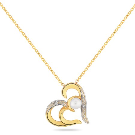 Eternal Heart 14KT Gold Sideways Heart With Pearl And Diamond Necklace 18 -