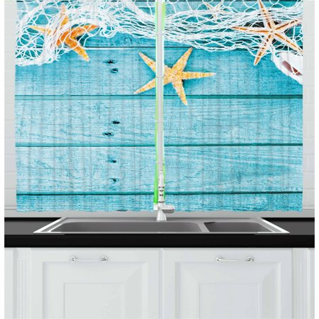 Starfish Curtains 2 Panels Set, Rustic Wood Boards Fishing Net and the Ocean Animals Nautical Print, Window Drapes for Living Room Bedroom, 55W X 39L Inches, Turquoise White Orange, by Ambesonne ()