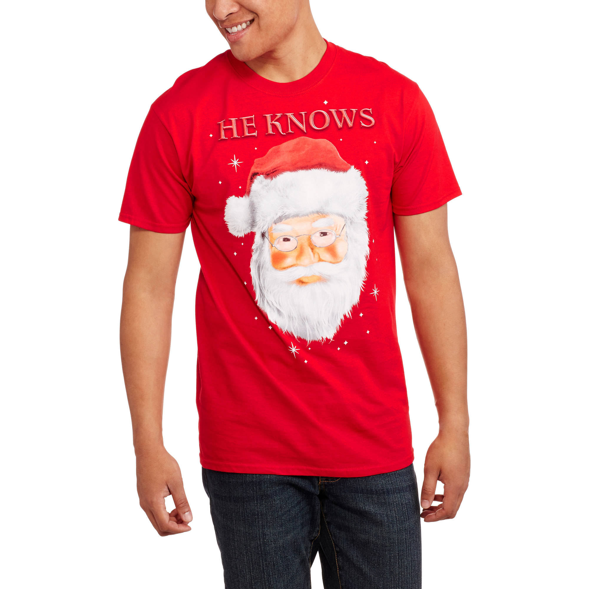 Christmas Men's He Knows Graphic Tee