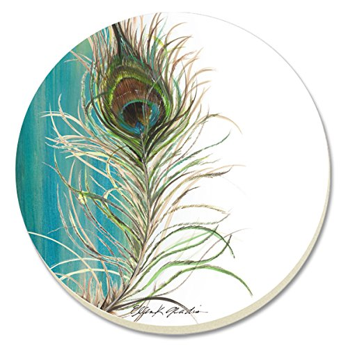 CounterArt Elegant Peacock Absorbent Coasters, Set of 4 by Counter Art