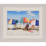 Paragon Beach Chairs by Tunstull Framed Painting Print