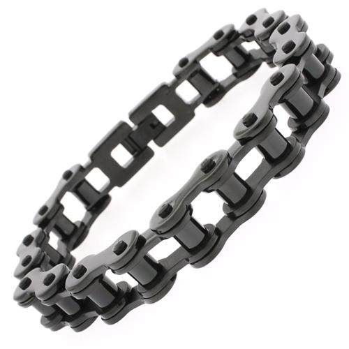 REL International Stainless Steel Mens Black 8.5-inch Bicycle Chain Link Bracelet