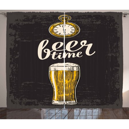 Modern Curtains 2 Panels Set, Beer Time Typography with Glass and Old Antique Lifestyle Illustration, Window Drapes for Living Room Bedroom, 108W X 96L Inches, Dark Green Yellow Cream, by -