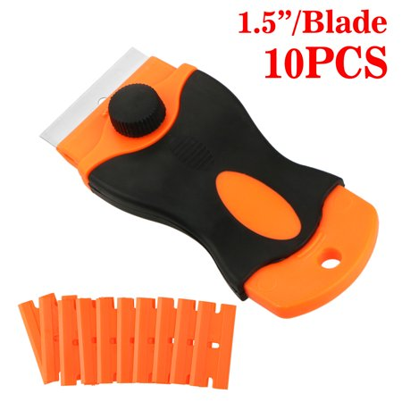 Razor Blade Tint Vinyl Tool, Sticker Glue Car Remover Tint Vinyl Tool Razor with 10 Replacement Tint Vinyl Tool Blades Glass Stovetops Cooktop Ceramic Metal Tape Paint Glue Stickers Removal Tool ()