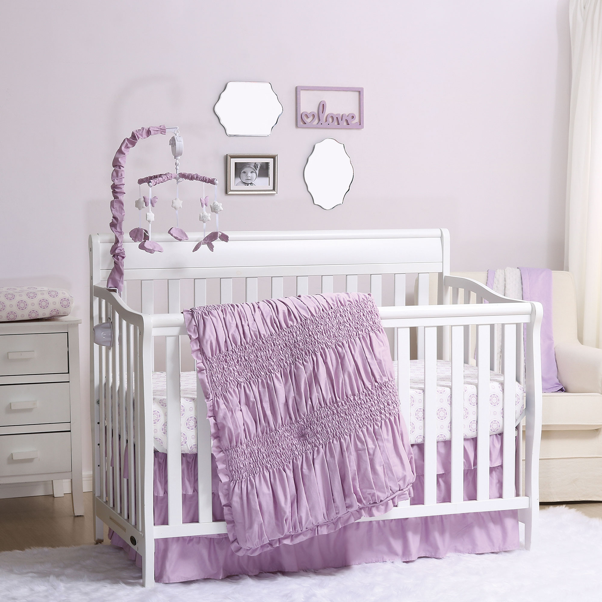 Lilac Kisses Purple Smocked 6 Piece Deluxe Crib Bedding Set by The Peanut Shell