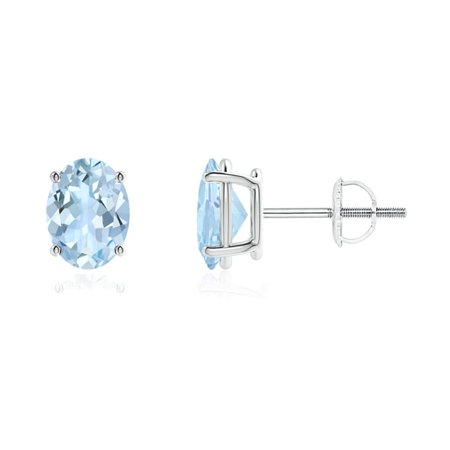 Mother's Day Jewelry Sale - Prong-Set Oval Solitaire Aquamarine Stud Earrings in 14K White Gold (8x6mm Aquamarine) - (8x6mm Settings)