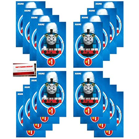 Thomas Train Party Favors (16 Pack Thomas The Train All Aboard Party Plastic Loot Treat Candy Favor Bags (Plus Party Planning Checklist by Mikes Super)