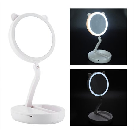 - Knifun Vanity LED Mirror Cosmetic Mirror with Lighting, Portable Lighted Double Sided Makeup Mirror, Battery Operated & Electric Folding Tabletop Cosmetic Mirror with 1x / 7x Magnification, Daylight