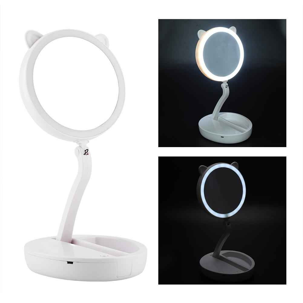 Knifun Vanity LED Mirror Cosmetic Mirror with Lighting, Portable Lighted Double Sided Makeup Mirror, Battery Operated & Electric Folding Tabletop Cosmetic Mirror with 1x / 7x Magnification, Daylight
