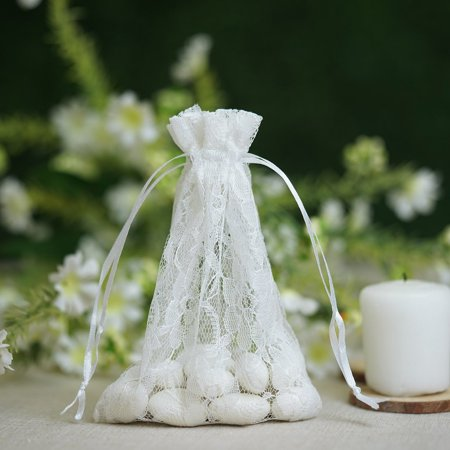 BalsaCircle 10 pcs White Floral Lace Favor Bags with Pull String - Wedding Party Favors Jewelry Pouch Candy Gift Bags - Pull String Bags