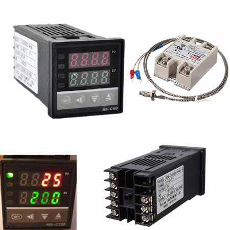 100-240V Digital PID REX-C100 0 to 400℃ Temperature Controller Control + 1M K Thermocouple Probe Heat Sink max.40A SSR + K Thermocouple Probe 1300 Degree Probe