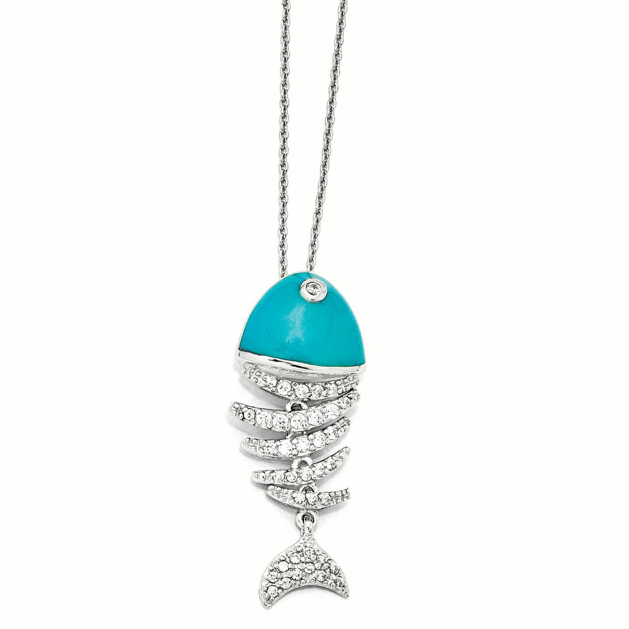 Cheryl M Sterling Silver Turquoise Enameled Cubic Zirconia Fish 18in Necklace by Best Price Product