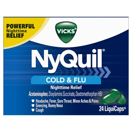 Vicks NyQuil Cough, Cold & Flu Nighttime Relief, 24 LiquiCaps - #1 Pharmacist Recommended - Nighttime Sore Throat, Fever, and Congestion (Bronchitis Sore Throat)