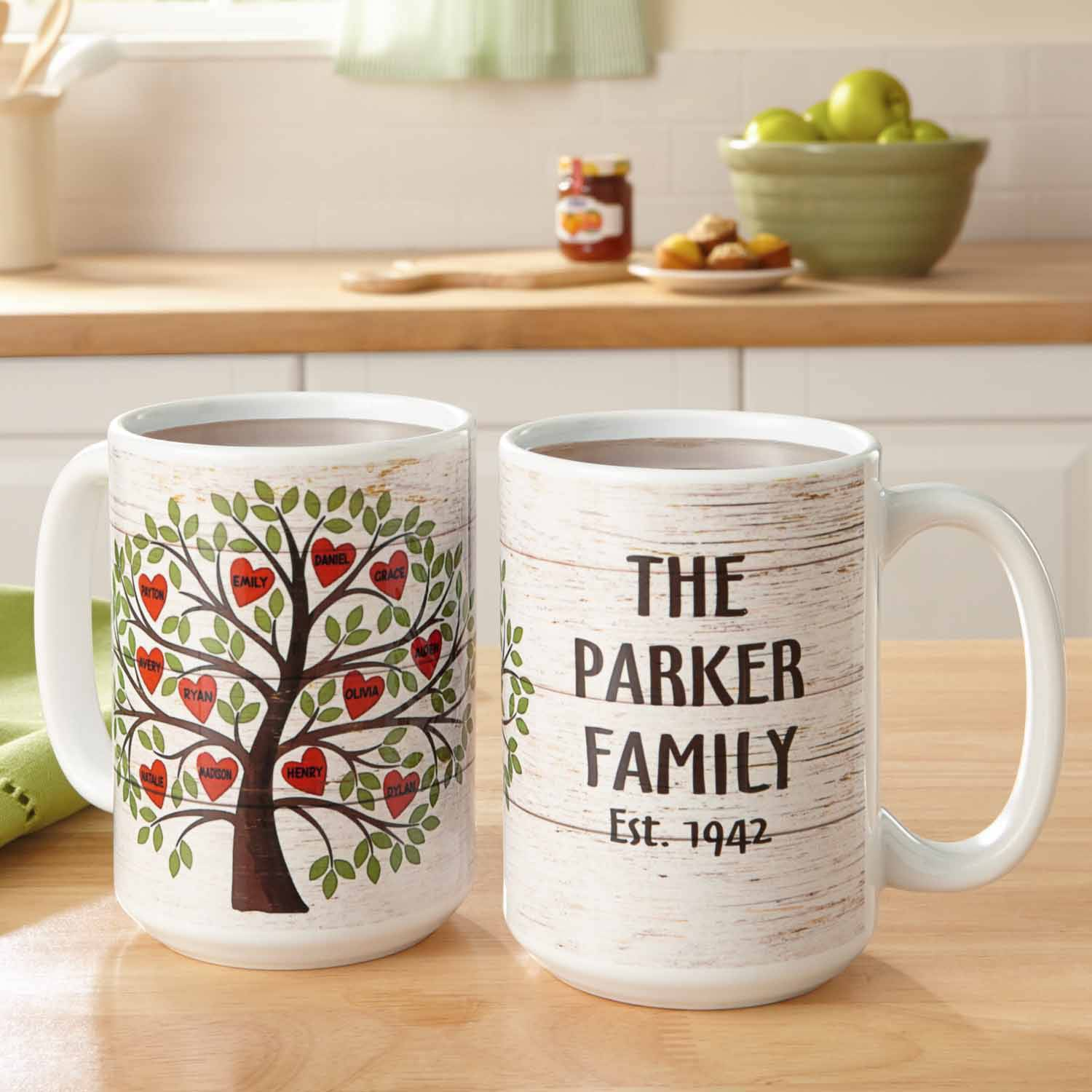Personalized Family Tree of Hearts Coffee Mug, 15 oz