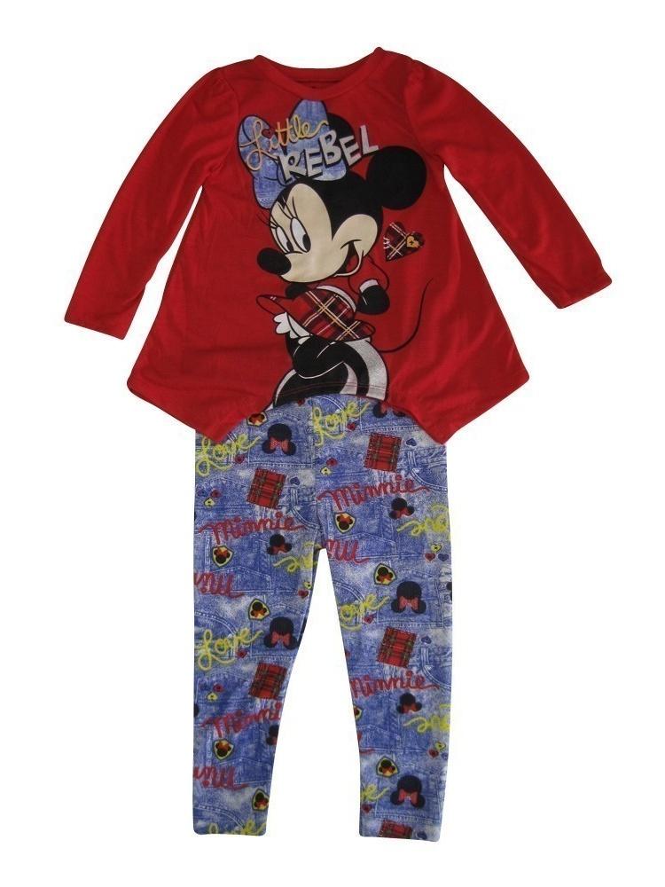 "Disney Little Girls Red Purple Minnie ""Little Rebel"" Print 2 Pc Pant Set"