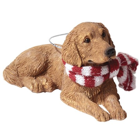 Sandicast Lying Golden Retriever with Scarf Christmas Dog (Doe Ornament)