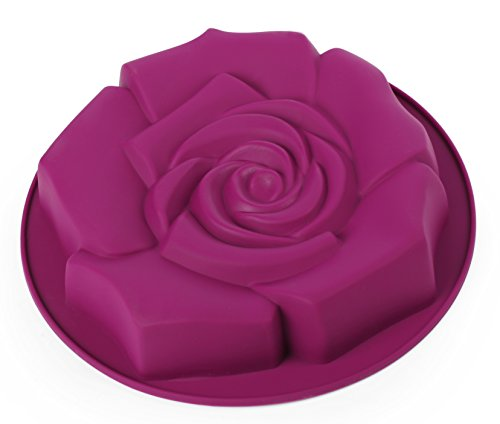 Home Value Silicone Rose-Shaped Bunt Mold, Purple (HVMUFFINSC03PU) by