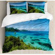 Coastal Duvet Cover Set, Green Trees Clear Water Idyllic Beach Summer Vacation Tropical Seascape, Decorative Bedding Set with Pillow Shams, Blue Turquoise Green, by Ambesonne
