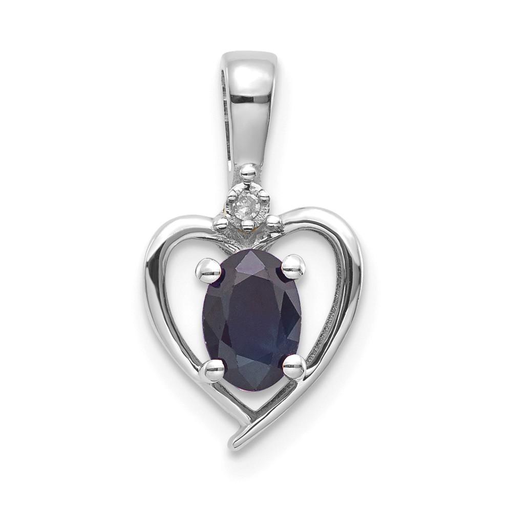 14k White Gold 6x4 Oval Genuine Sapphire Diamond Pendant. Gem Wt- 0.64ct