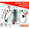 Imusa 16Qt Aluminum Steamer Pot with Glass Lid & Removable Rack in Silver, Large