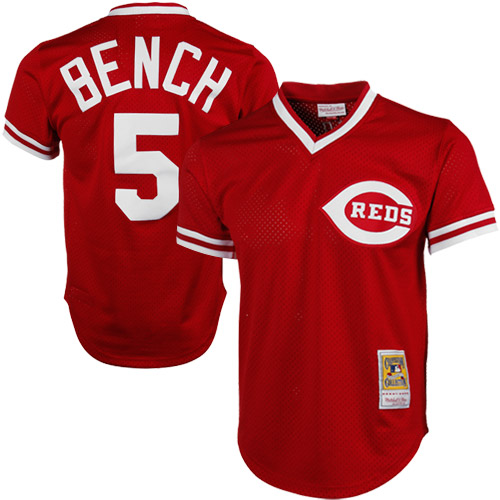 Johnny Bench Cincinnati Reds Mitchell & Ness 1983 Authentic Copperstown Collection Mesh Batting Practice Jersey - Red